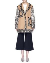 Manteau de fourrure imprimé léopard brun clair Stella McCartney