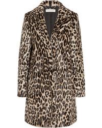 Manteau de fourrure imprimé léopard brun foncé Stella McCartney
