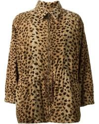 Manteau de fourrure imprimé léopard brun Saint Laurent