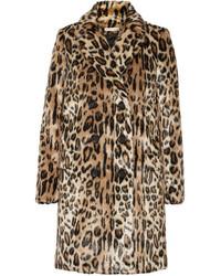 Manteau de fourrure imprimé léopard marron clair Alice + Olivia