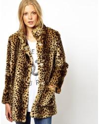 Manteau de fourrure imprimé léopard marron clair Asos