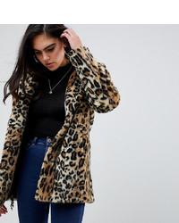 Manteau de fourrure imprimé léopard marron clair Asos Tall