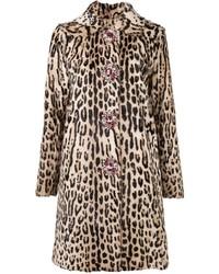 Manteau de fourrure imprimé léopard marron clair Blumarine