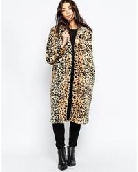 Manteau de fourrure imprimé léopard marron clair