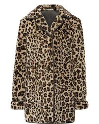 Manteau de fourrure imprimé léopard marron clair Miu Miu