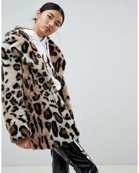 Manteau de fourrure imprimé léopard marron clair NA-KD