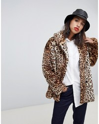Manteau de fourrure imprimé léopard marron clair Stradivarius