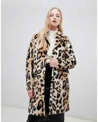 Manteau de fourrure imprimé léopard marron clair Vero Moda