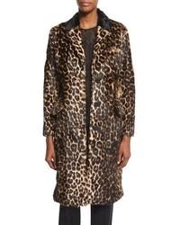 Manteau de fourrure imprimé léopard marron foncé