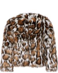 Manteau de fourrure imprimé léopard marron foncé Moschino
