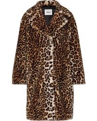 Manteau de fourrure imprimé léopard marron foncé Stand