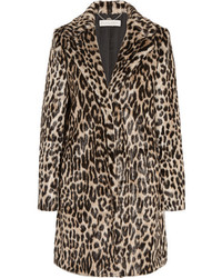 Manteau de fourrure imprimé léopard marron foncé Stella McCartney