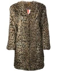 Manteau de fourrure imprimé léopard marron