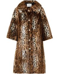 Manteau de fourrure imprimé léopard marron Erdem