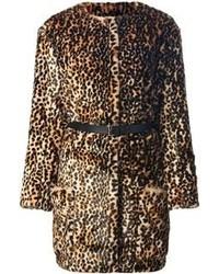 Manteau de fourrure imprimé léopard marron Nina Ricci