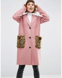 Manteau de fourrure imprimé léopard rose Asos