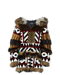 Manteau de fourrure imprimé marron foncé Dsquared2