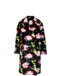 Manteau de fourrure imprimé noir Kenzo