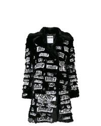 Manteau de fourrure imprimé noir Moschino