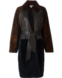 Manteau de fourrure marron foncé Lanvin