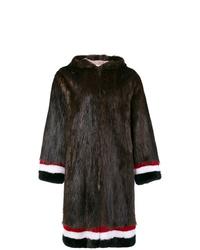 Manteau de fourrure marron foncé Thom Browne
