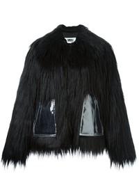 Manteau de fourrure noir MM6 MAISON MARGIELA
