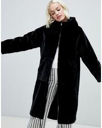 Manteau de fourrure noir Monki