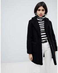 Manteau de fourrure noir New Look