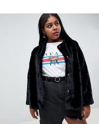 Manteau de fourrure noir New Look Plus