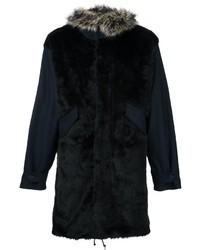 Manteau de fourrure noir Paul Smith