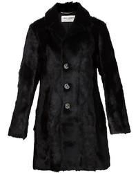 Manteau de fourrure noir Saint Laurent