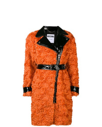 Manteau de fourrure orange Moschino