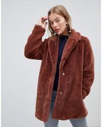 Manteau de fourrure orange New Look