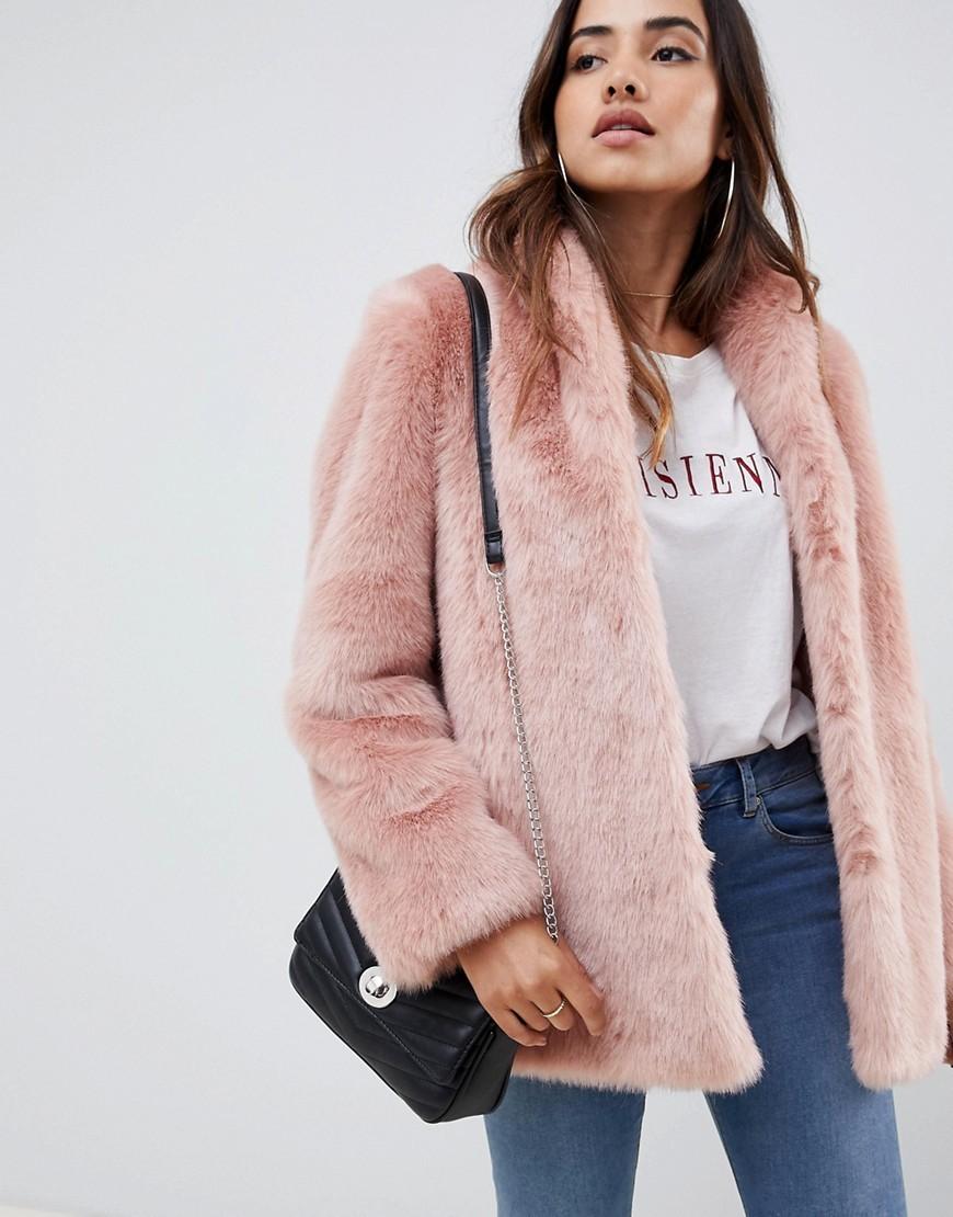 Manteau de fourrure rose ASOS DESIGN
