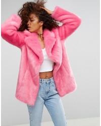 Manteau de fourrure rose Asos