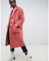 Manteau de fourrure rose ASOS WHITE