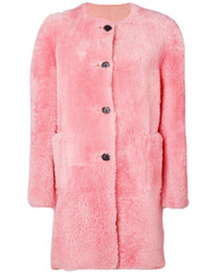 Manteau de fourrure rose Marni