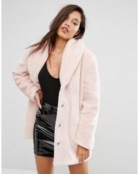 Manteau de fourrure rose Missguided