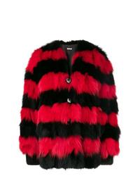 Manteau de fourrure rouge et noir Miu Miu