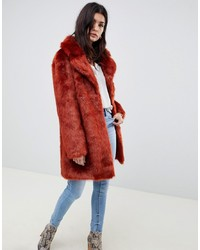 Manteau de fourrure rouge ASOS DESIGN