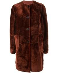 Manteau de fourrure rouge Marni