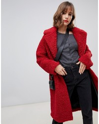 Manteau de fourrure rouge Stradivarius