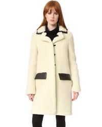 Manteau duveteux beige Carven