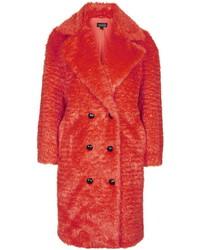 Manteau duveteux rouge