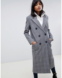Manteau écossais gris ASOS DESIGN
