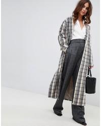 Manteau écossais gris Fashion Union