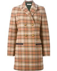 Manteau écossais marron clair Tory Burch