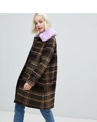 Manteau écossais marron Monki