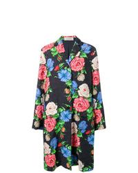 Manteau en brocart à fleurs noir Nina Ricci
