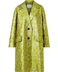 Manteau en brocart olive Prada